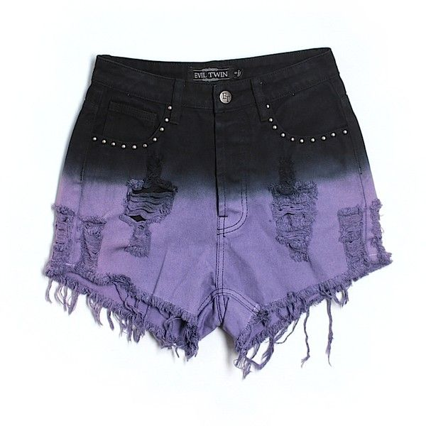 Pre-owned Evil Twin Denim Shorts (6.755 HUF) ❤ liked on Polyvore featuring shorts, bottoms, pants, purple, short jean shorts, evil twin, jean shorts, purple shorts and evil twin shorts