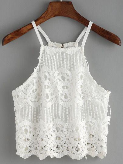 Spaghetti Strap Lace Crochet Cami Top