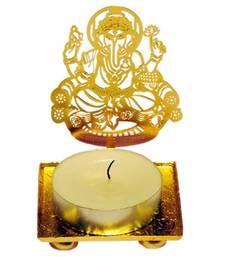 Buy Blessing Ganpati Bappa golden Machine Cutting Work Festive Diya with Wax diya online
