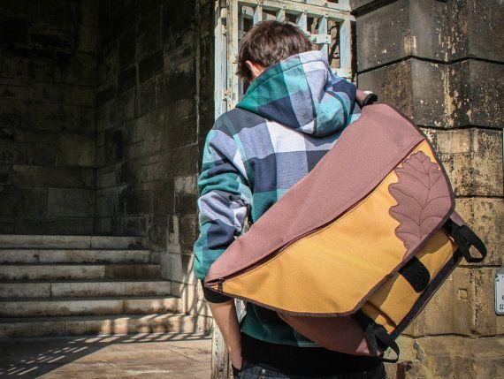 Brown and deep amber  Oak Leaf Bike Messenger Bag by LeaflingoOo, $113.00