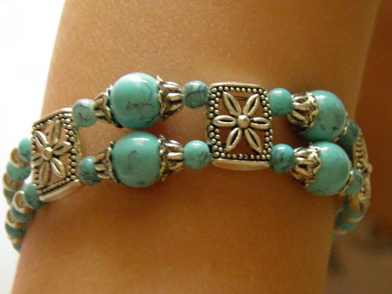 Beaded 2-row blue turkish turquoise bracelet, memory wire bracelet, tibetan style bracelet, tibetan silver, gift, girls, women