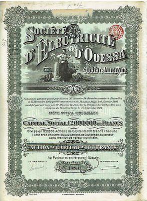 Societe D'Electricite D'Odessa 1910 Bruxelles Br�ssel Title100 Francs