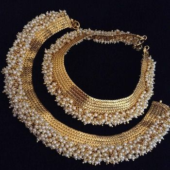 Chandni Pearl Payal Copper traditional Anklet India Bollywood Bridal Jewelry