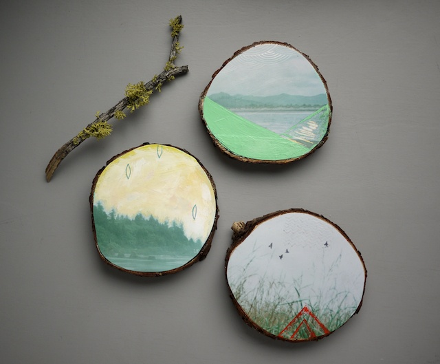 Habit of Art | mixed media works on cedar wood slices