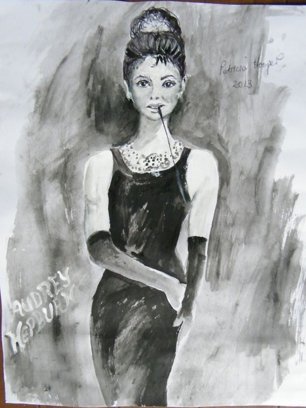 Black and white sketch of Audrey Hepburn.Such a Legend.