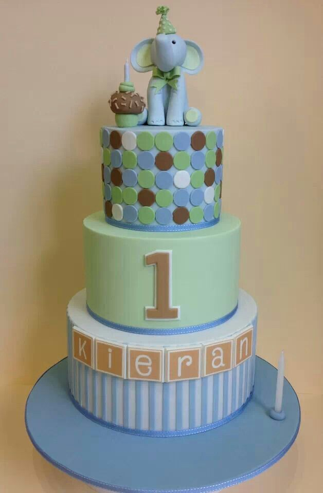 1st birthday cake with elephant topper