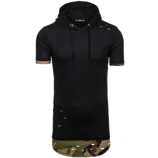 Pánské tričko s kapucí černé barvy v army stylu - manozo.cz