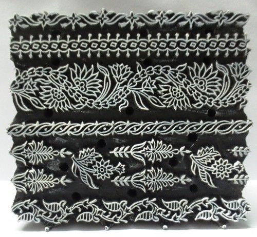 Indian Wooden Hand Carved Textile Printing on Fabric Block