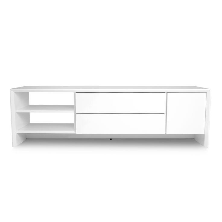 Dit strakke, moderne tv-meubel heeft 1 deur, 2 laden en 2 niches. Ze is onderdeel van een eetkamerprogramma. Zo is er keuze tussen verschillende dressoirs, tv-meubelen en (salon)tafels. Dit alles is verkrijgbaar in wit of de combinatie van wit en hout.