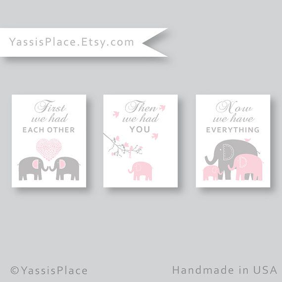 Girl Wall Art - Unframed Prints - First we had each other. Then we had you. Now we have EVERYTHING.   Baby Girl or Boy Elephant and birds nursery art, set of 3 prints in light pink and gray. Custom colors available.  AT CHECKOUT Please leave your custom colors in the note to seller box. If you are requesting custom colors, a proof will be sent in 5 - 10 business days.  You are my sunshine print set is also available in this color combination. Contact me for the link to the listing.  Visit my…