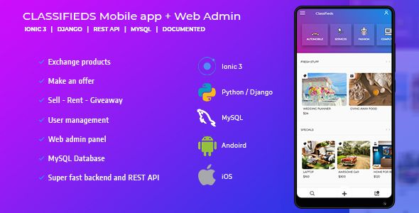 Classifieds mobile with admin and rest api (Android & iOS
