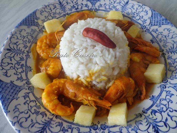 Caril de Camarão com Coco e Abacaxi   por Prato Caseiro   feito com o nosso piri-piri moído e o nosso piri-piri seco