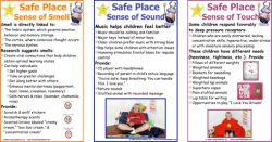 Safe Place™ Sensory Integration Signs: These posters provide helpful tips for sight, sound, smell and touch, plus a bonus poster for special needs. Just laminate and post in your Safe Place! Learn more about the Safe Place here:http://consciousdiscipline.com/shubert/shuberts-classroom.asp