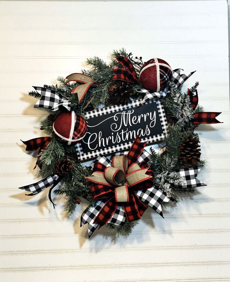 Rustic Farmhouse Country Christmas wreath for Front Door