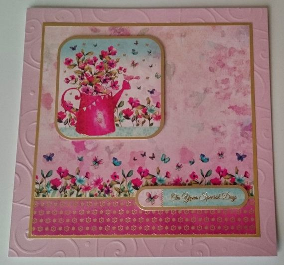 Handmade 8 x 8 Square Greeting Card  On Your Special by BavsCrafts
