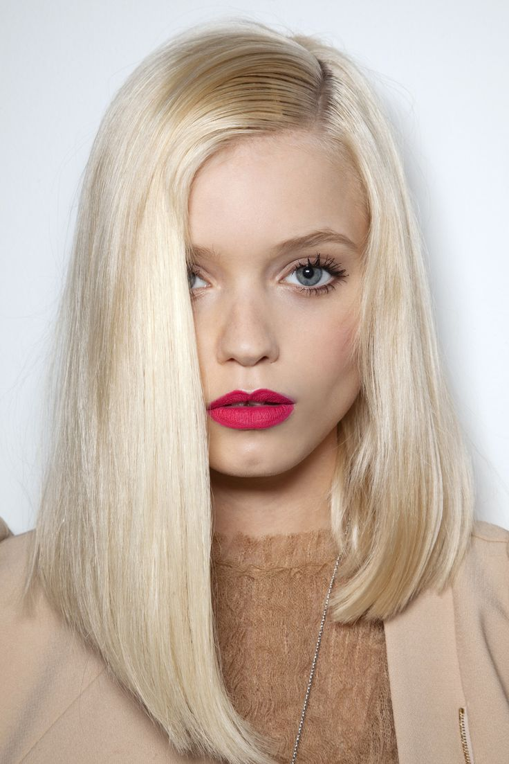 platinum blonde asymmetrical long bob