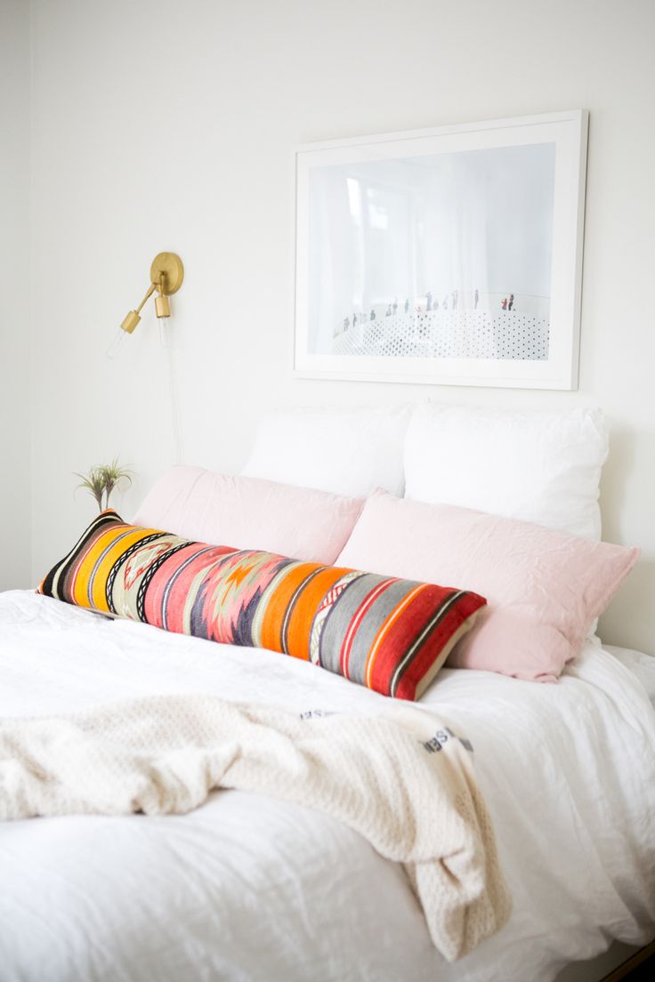 Perfect splash of color against all white bed. Love this look.: Guest Room, Style, Bright Pillow, Space, Bedroom