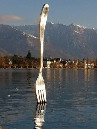 Giant fork, Jean Pierre Zaugg and Georges Favre, Swiss artists, 1995