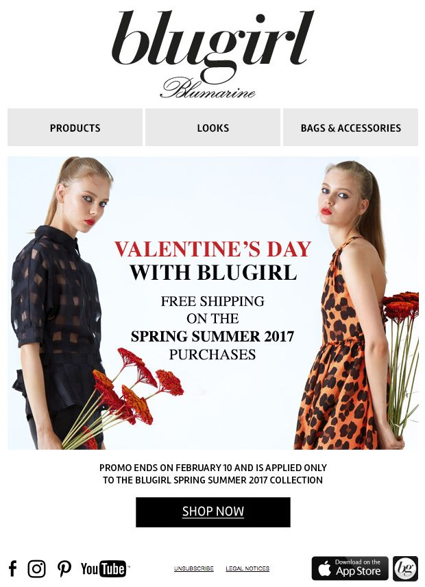 Celebrate Valentine's Day with Blugirl! • Free shipping on the Spring Summer 2017 purchases until February 10.