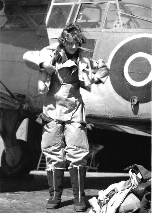 A pilot of the British Women's Auxiliary Air Force (WAAF) ~