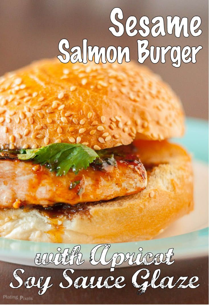 Sesame Salmon Burger with Apricot Soy Sauce by Plating Pixels. Sweet ...