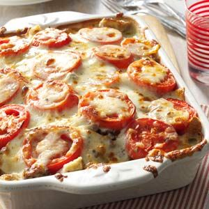 Tomato-French Bread Lasagna Recipe from Taste of Home -- shared by Patricia Collins of Imbler, Oregon