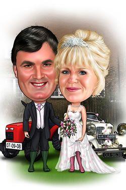 Farmers Wedding Caricature