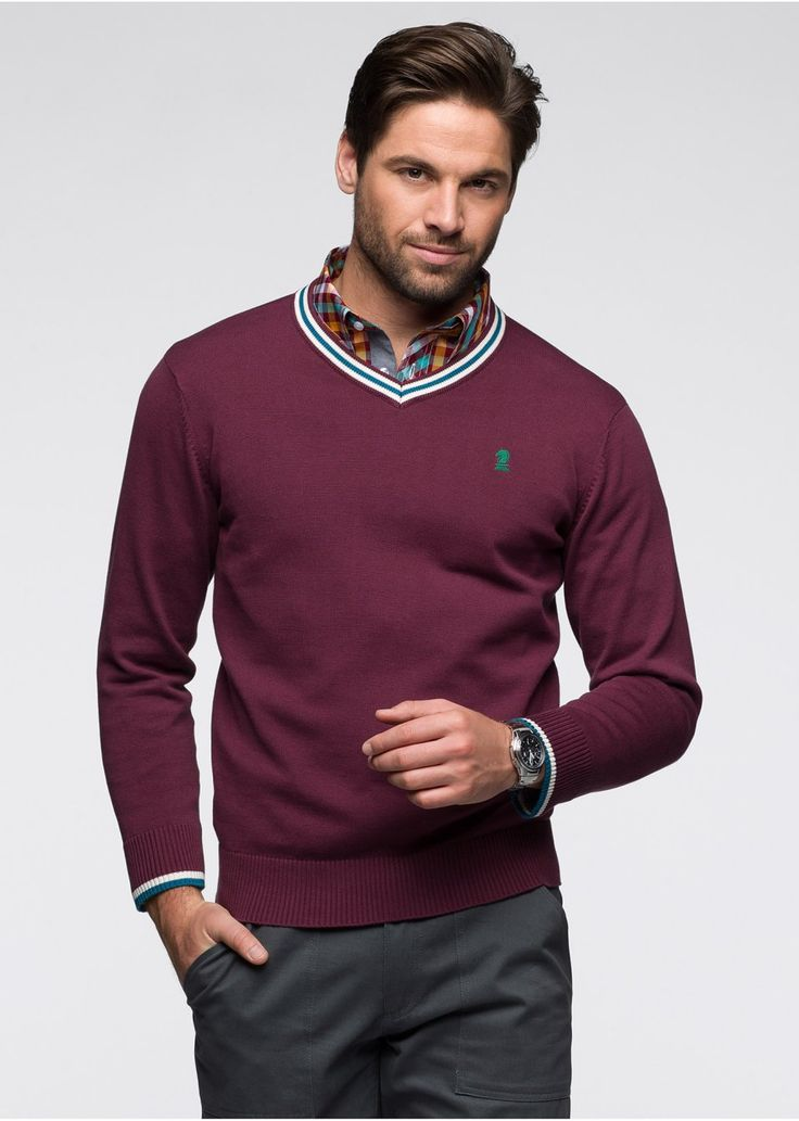 A modern sweater with decorative details available at Bonprix + 6% cashback for buying via CashOUT #cashback #menfashion #mensweater