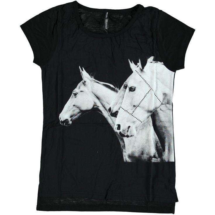 Shirt met Paardenprint en halster van siersteentjes