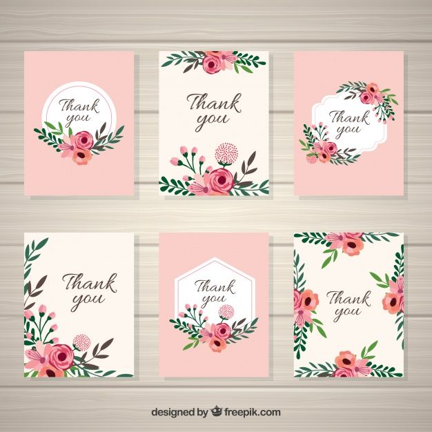 Collection of vintage flowers card Free Vector