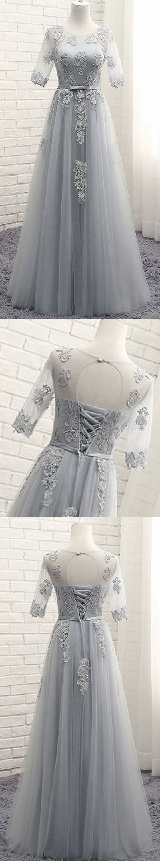 Long prom dress, half sleeve prom dress, lace up back prom dress, silver/grey prom dress, formal prom dress, occasion dress, PD15197 #prom #promdress #prom dress #dress