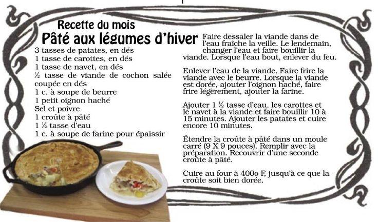 Pâté aux légumes d'hiver, recette acadienne traditionnelle.