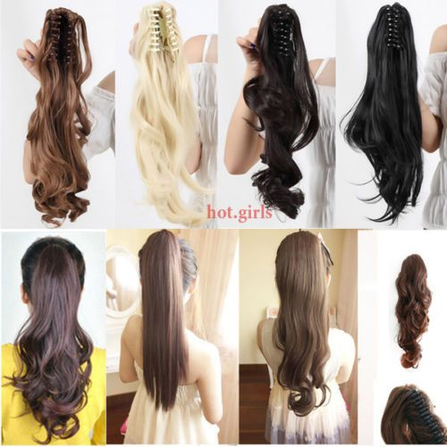 Clip in Ponytail Pony Tail Hair Extensions Piece Wavy Style Wrap Calw on Hair E4 | eBay