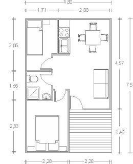 Planos Casas de Madera Prefabricadas: plano casa 36 m2 cod.00126