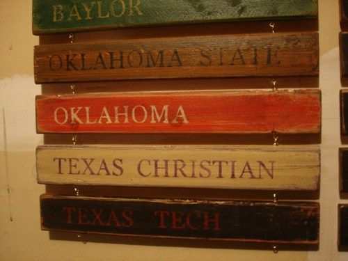 Big 12 Standings Board by MyRusticBoardSigns - Woodworking on ArtFire. I *will* have this in our new house!!!