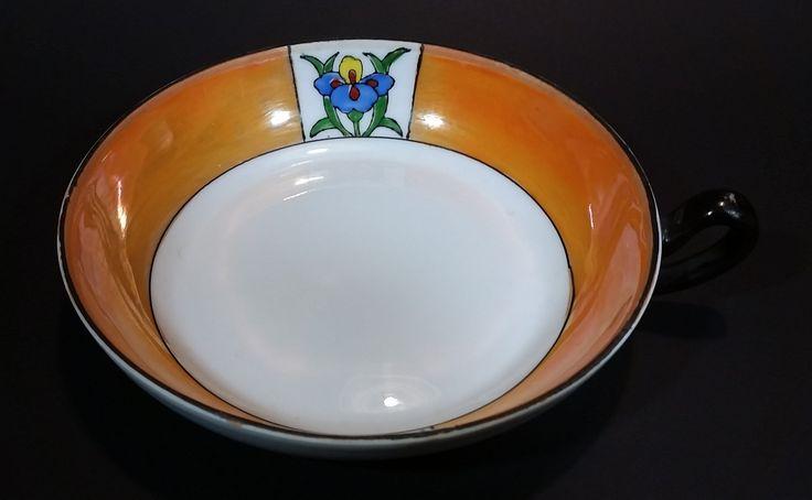 1920s Meito China Japan Art Deco Orange Lustreware Floral Soup or Vegetable Serving Bowl with Handle https://treasurevalleyantiques.com/products/1920s-meito-china-japan-art-deco-orange-lustreware-floral-soup-or-vegetable-serving-bowl-with-handle #Antiques #1920s #20s #MeitoChina #Meito #Japan #Japanese #ArtDeco #Flowers #Floral #Handpainted #Orange #Lustreware #Lusterware #Soup #Vegetable #Bowls