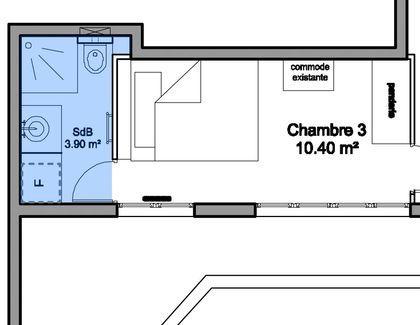 Plan d'une salle d'eau de 3,90 m2 avec WC et coin buanderie pour le lave-linge