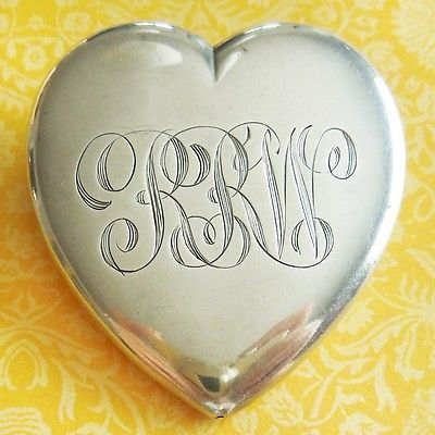 Vintage Large RRW SANS GENE PUFFY HEART Engraved Sterling Silver Pin Pendant