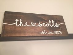 Custom Made Last Name Wood Sign with Wedding Date, Rustic, Hand Painted…