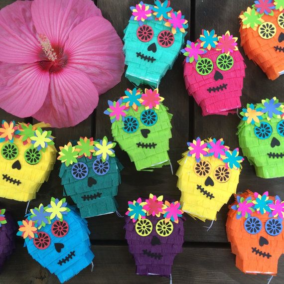 Mini Piñata Decorations Day of the Dead Cinco de Mayo by lulaflora