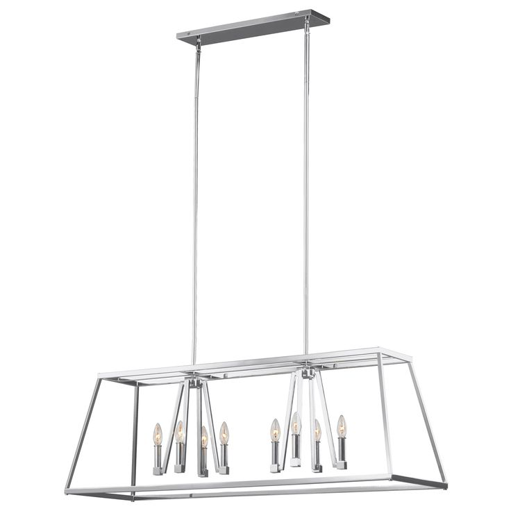 The Conant Island Chandelier is an updated take on a classic lantern with an open frame and crisp architectural lines. Available in Gilded Satin Brass or Chrome. Eight 60 watt max 120 volt candelabra base bulbs are required, but not included. 48 inch width x 16 inch height x 12.5 inch depth x 73 inch maximum length. Canopy: 21 inch width x 4.5 inch depth. ETL listed for damp locations.
