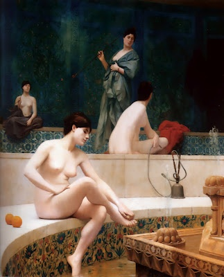 The Harem Bath  Artist: Jean Leon Gerome  Title: The Harem Bath 1889  Signed lower left J. L. Gerome  Medium: Oil on canvas/huile sur toile  Size: 39.25 x 31.75 in (100 x 83 cm)  Location: as of 2007 in Private Collection  French Orientalist
