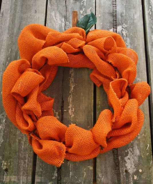Published: Harvest Crafts burlap pumpkin wreath #SHL13 #SouthernHolidayLife