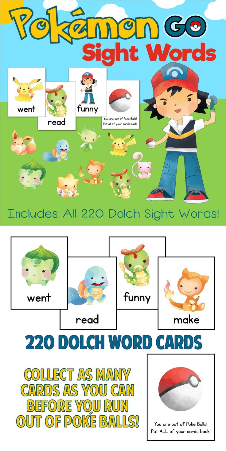 Pokemon Go Sight Words Game!  Available in Dolch AND Fry Word versions.  Collect as many Pokemon cards as you can before you run out of Poke Balls!