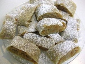 sliced apple strudel topped with powdered sugar jablkova strudla #Slovak #Dessert