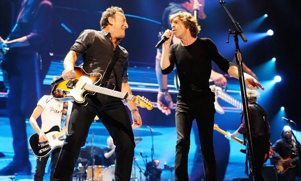 Bruce Springsteen and Mick Jagger perform at the Prudential Center on December 15th, 2012 in Newark, New Jersey.
