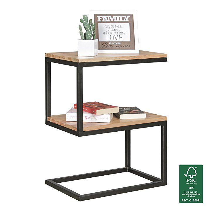 Wohnling Beistelltisch Akola S Form Akazie Massiv Holz Metall 45 X 60 X 30 Cm Design Ohnzimmertisch Landhaus Stil Coucht Beistelltische Tisch Beistelltisch