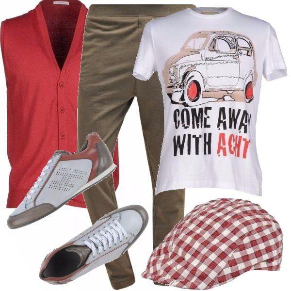 Facciamoci un giro per la città, teniamoci comodi ed eleganti per qualsiasi eventualità. Indossiamo una t-shirt dai simpatici disegni, pantaloni comodi, morbidi, color marrone e gilet in cotone color rosso mattone, in tinta con l'intero outfit. Scarpe da tennis, sempre in tinta.