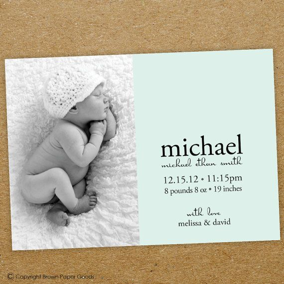 baby boy birth announcement Baby Boy Printable by brownpapergoods, $15.00
