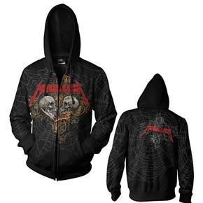 Metallica Double Skull All Over Black Zip Hoodie